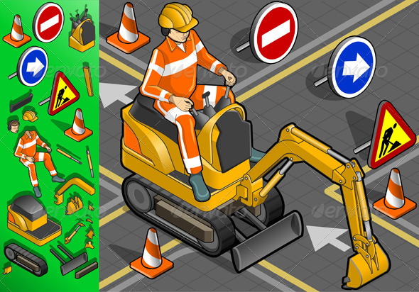 GraphicRiver Isometric Mini Excavator with Man at Work 4276822