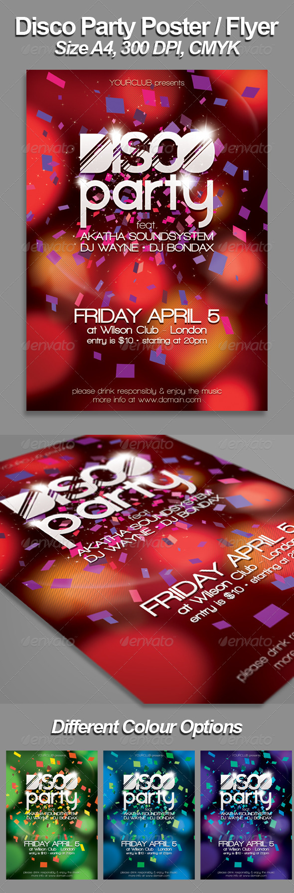 GraphicRiver A4 Disco Flyer Poster Template 4276935