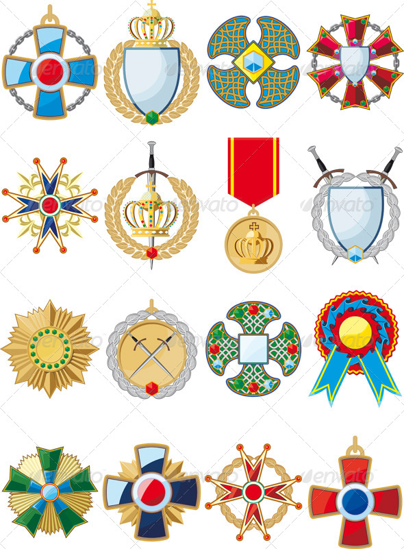 Set of Various Medals - Decorative Symbols Decorative