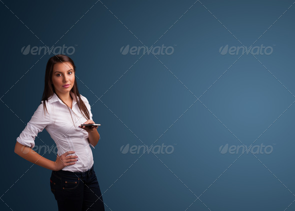 PhotoDune Young woman standing and typing on her phone with copy space 4278486