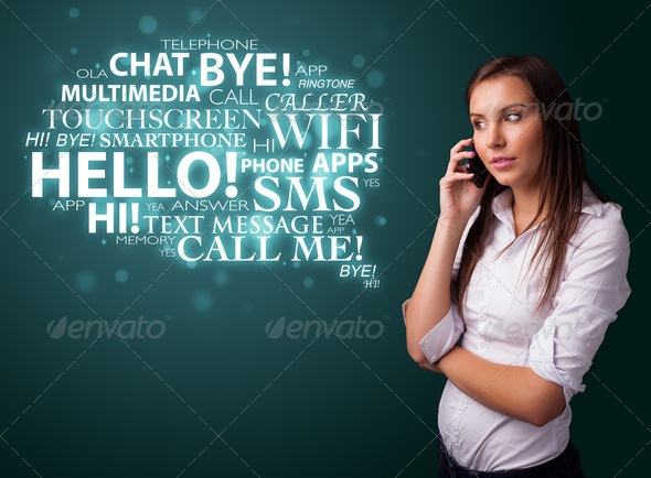 PhotoDune Young girl calling by phone with word cloud 4278494