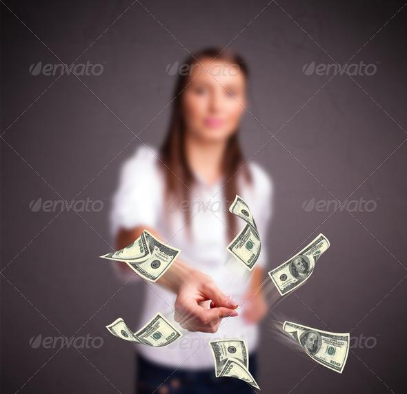PhotoDune Young girl throwing money 4278504
