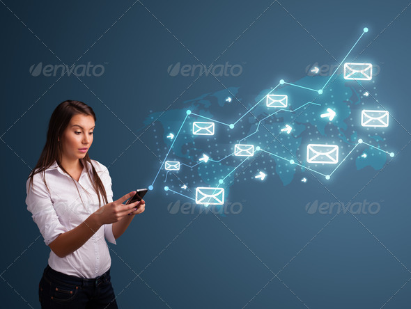 PhotoDune Young lady holding a phone with arrows and message icons 4278505