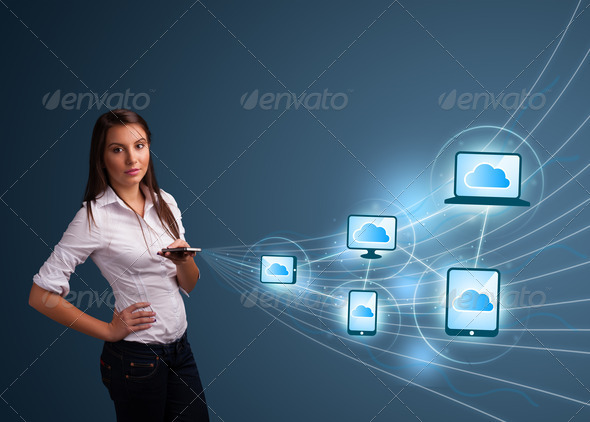 PhotoDune Pretty lady typing on smartphone with cloud computing 4278506