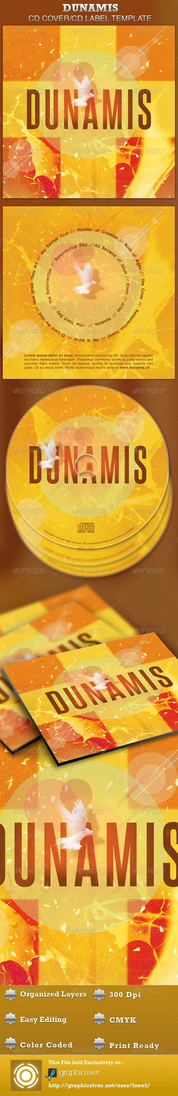 Dunamis CD Artwork Template - CD & DVD artwork Print Templates