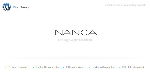 NANICA - One Page WordPress Theme - Screenshot 1. Preview image.