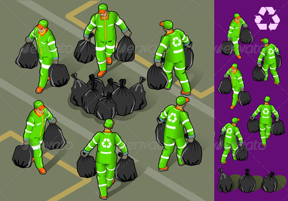 Isometric Set of Garbage Man in Six Position