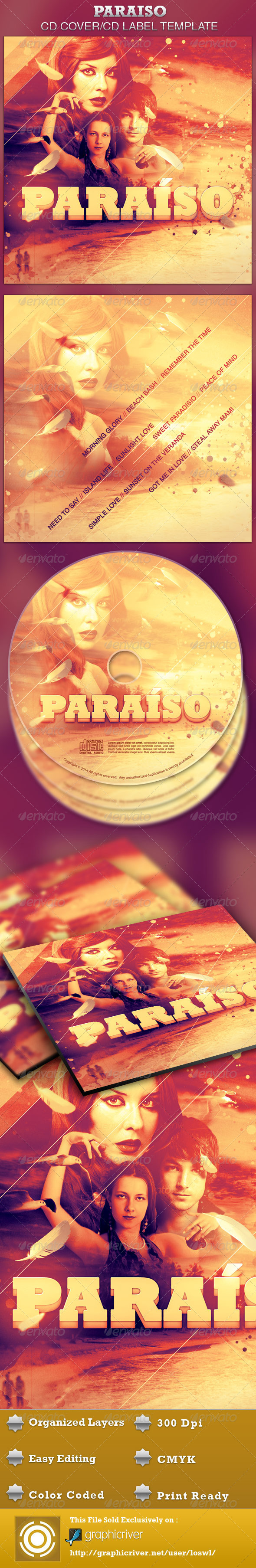 Paraiso CD Artwork Template - CD & DVD Artwork Print Templates
