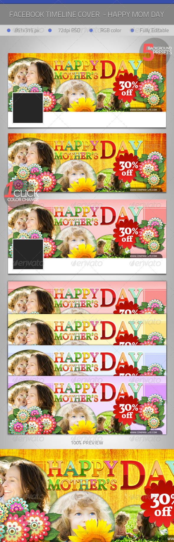 GraphicRiver FB Timeline Cover Mother s Day Greeting 4280420