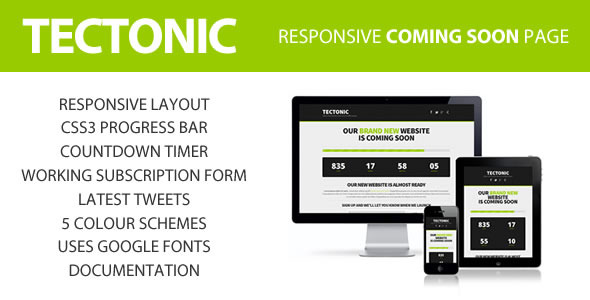 Tectonic - Responsive Coming Soon Page
