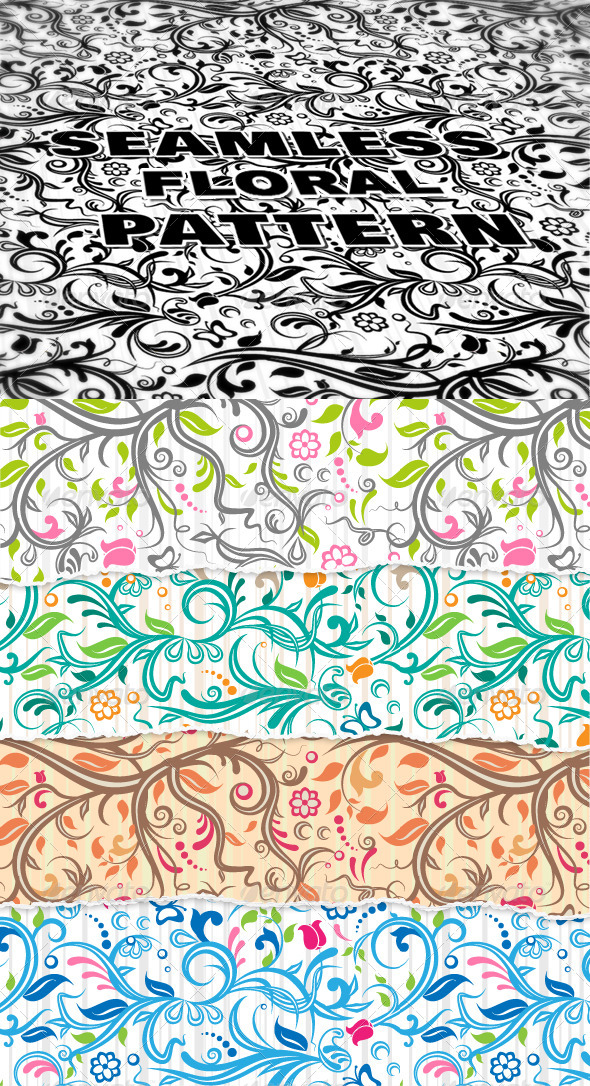 GraphicRiver Seamless Floral Pattern Illustrator & Photoshop 4281438