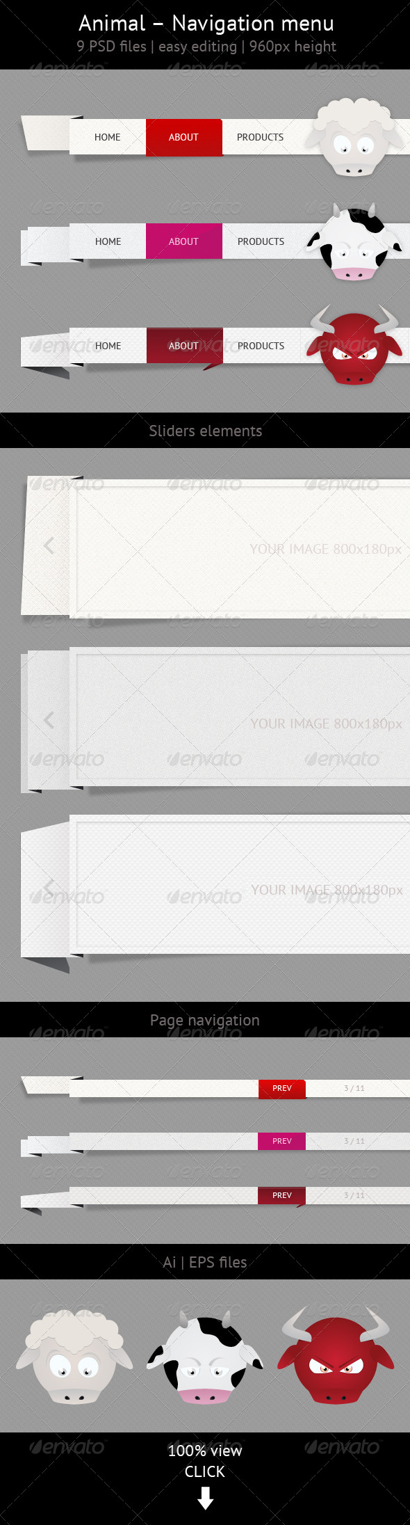 GraphicRiver Animal Navigation Menu Set 4272173