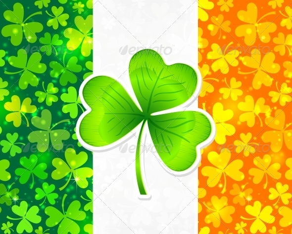 Irish Flag with Clovers