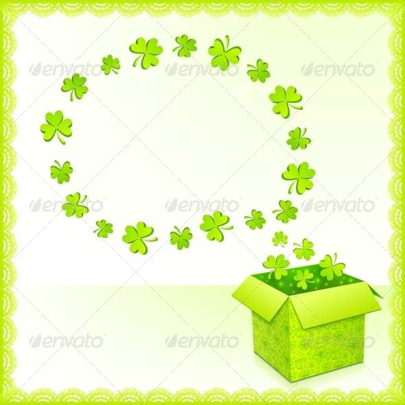 GraphicRiver Green Paper Box with Clovers Greeting Card 4281562