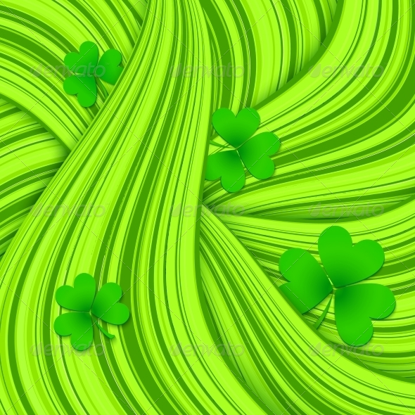 GraphicRiver Green Hair Waves Abstract Background with Clovers 4281570