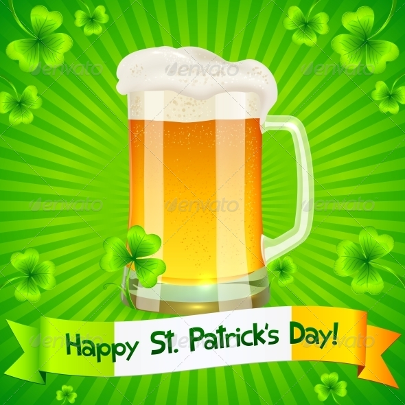 GraphicRiver Patrick s Day Card with Pint of Light Beer 4281581