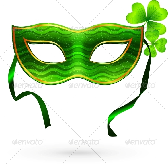 GraphicRiver Green Carnival Mask with Clovers 4281688