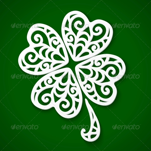 GraphicRiver Ornate White Cut Out Clover 4281691