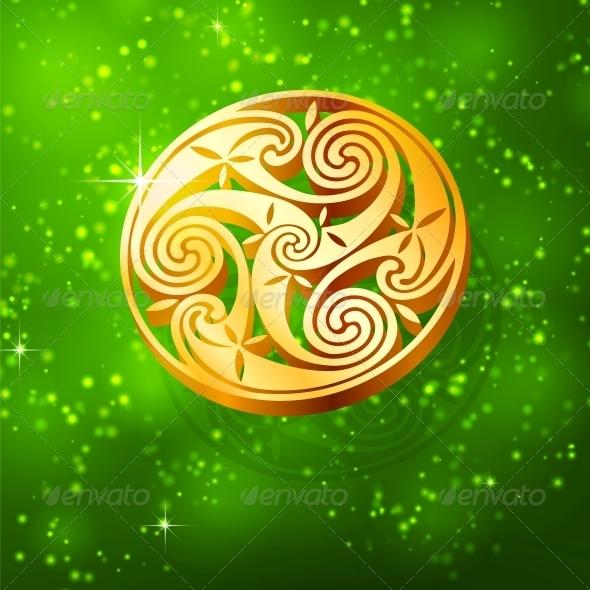 GraphicRiver Magic Golden Triskel on Green Background 4281700