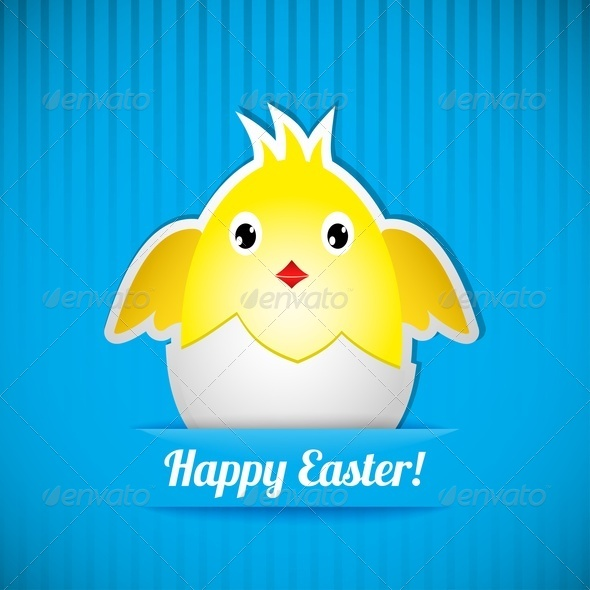 Easter Card With Chicken That Hatched From Egg - Miscellaneous Seasons/Holidays