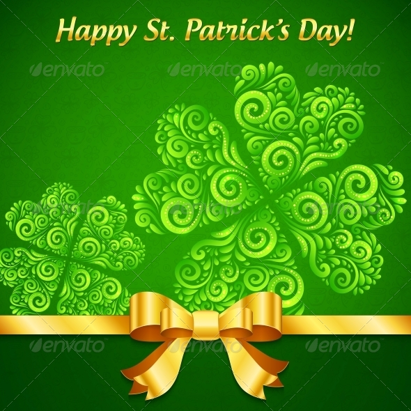 GraphicRiver Curved Ornate Clovers Green Patrick s Day Card 4281705