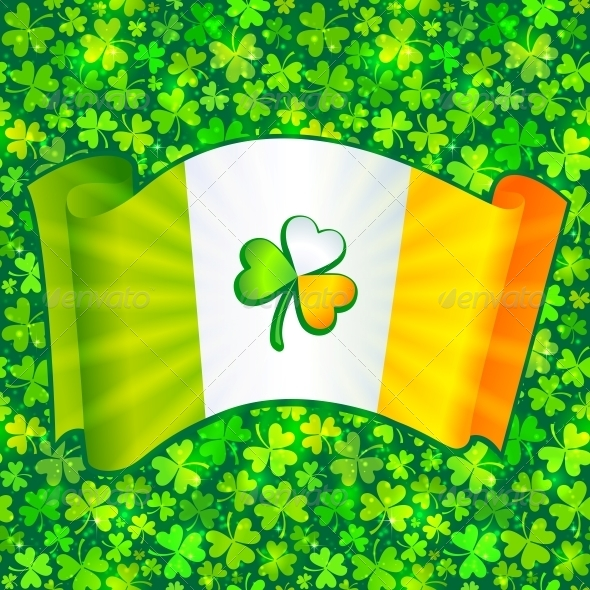 GraphicRiver Celtic Clover on Irish Flag at Green Clovers 4281710