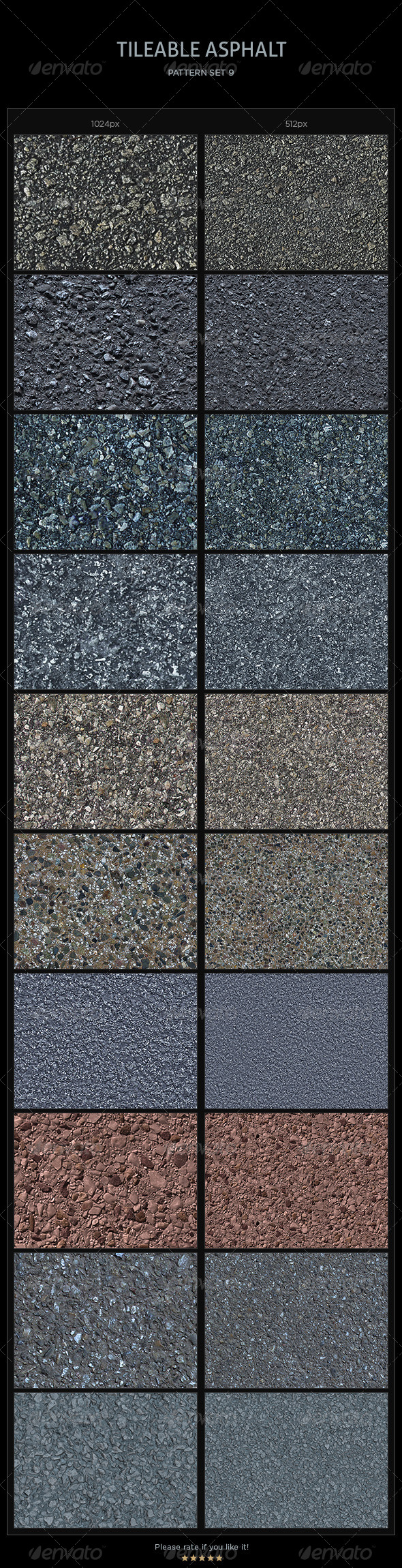 10 Tileable Asphalt Textures/Patterns - Miscellaneous Textures / Fills / Patterns