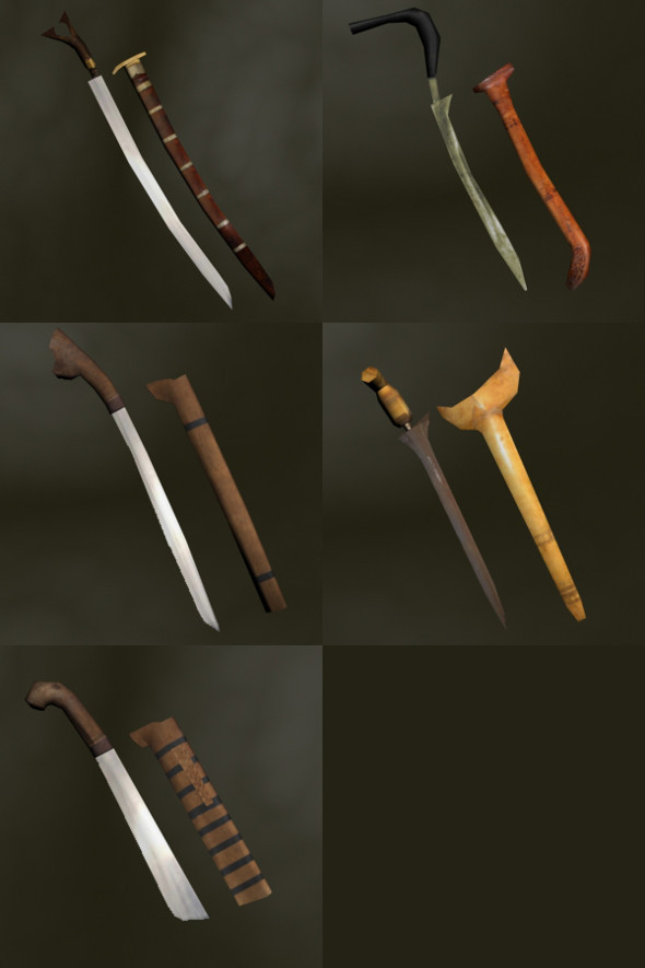 3DOcean Asian Bladed Weapons Pack 4267988