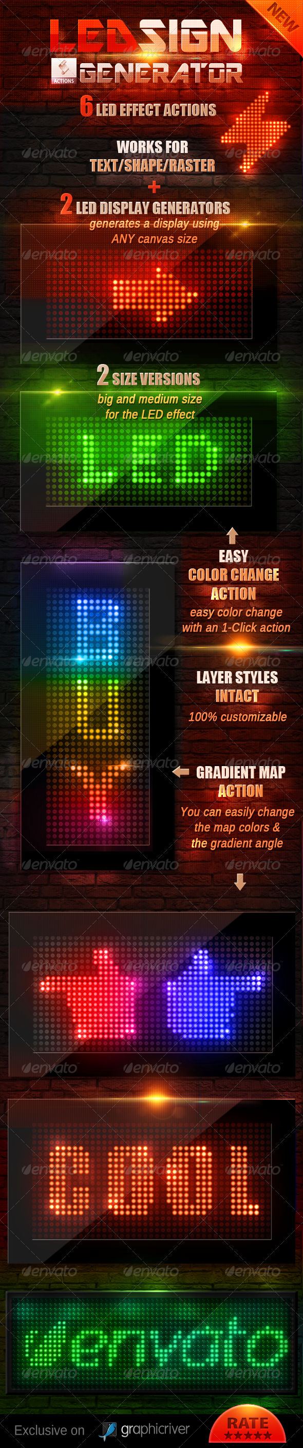 GraphicRiver LED Lights Sign Generator Photoshop Action 4282448