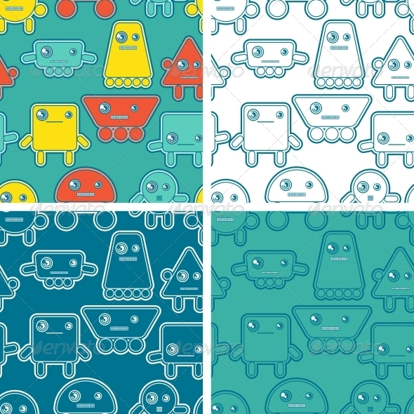 GraphicRiver Cartoon Robots Seamless Patterns 4284036