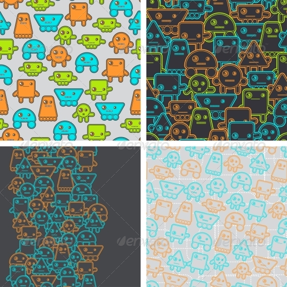 GraphicRiver Cartoon Robots Seamless Patterns 4284042