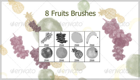 8 Fruits Brushes (2500px) - Brushes Photoshop