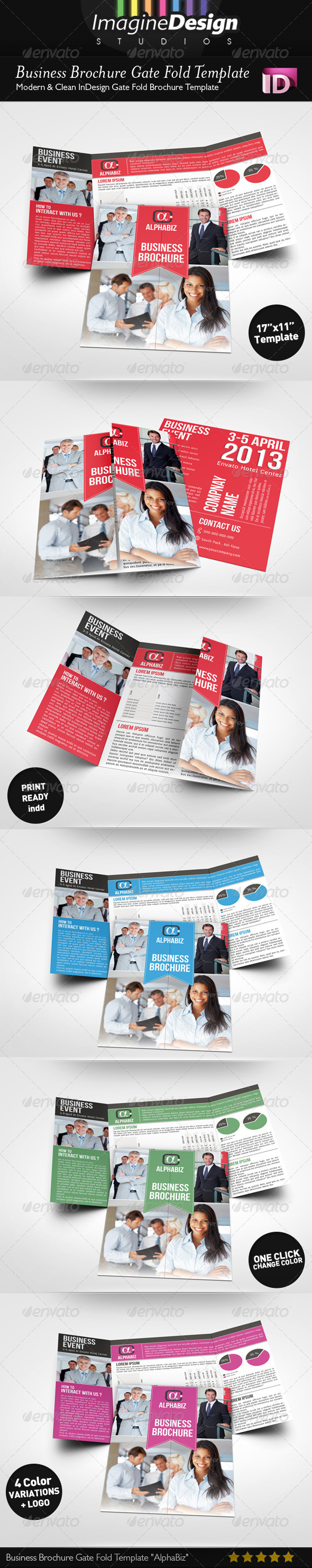 "Business Brochure Gate Fold Template ""AlphaBiz"" - Corporate Brochures"