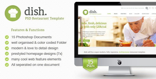 Dish Multipurpose PSD Restaurant Template - Restaurants & Cafes Entertainment