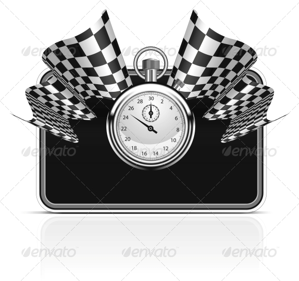 GraphicRiver Checkered Flag with a Stopwatch Background 4285182
