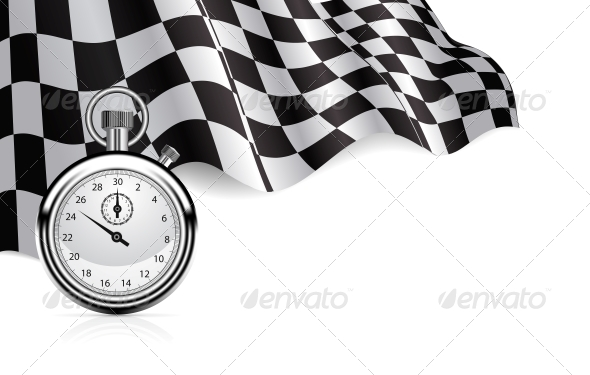 GraphicRiver Checkered Flag with a Stopwatch Background 4285184
