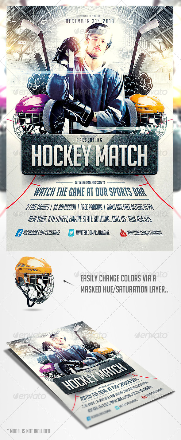 GraphicRiver Hockey Match Flyer Template 4106384