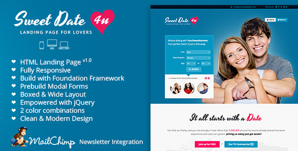 ThemeForest Sweet Date Premium Landing Page for Lovers 4285315
