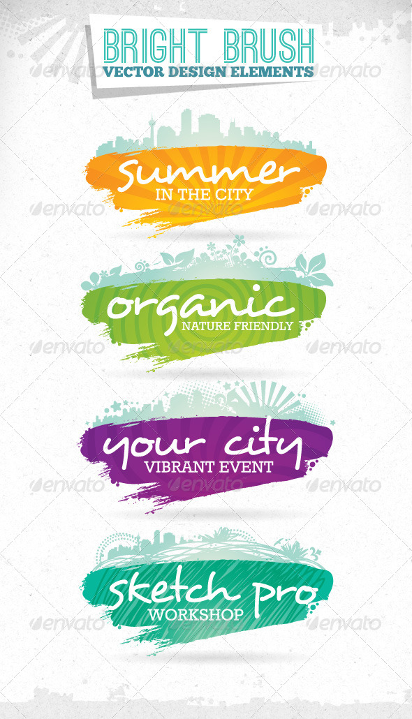 Bright Brush Grunge Vector Design Elements - Abstract Conceptual