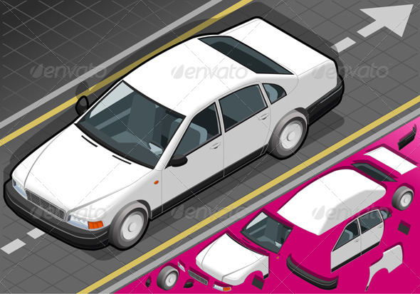 GraphicRiver Isometric White Car in Front View 4286522