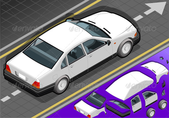 GraphicRiver Isometric White Car in Rear View 4286524