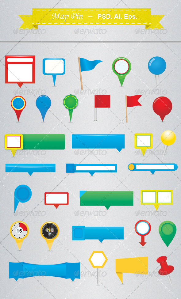 GraphicRiver Map Pins 4286578