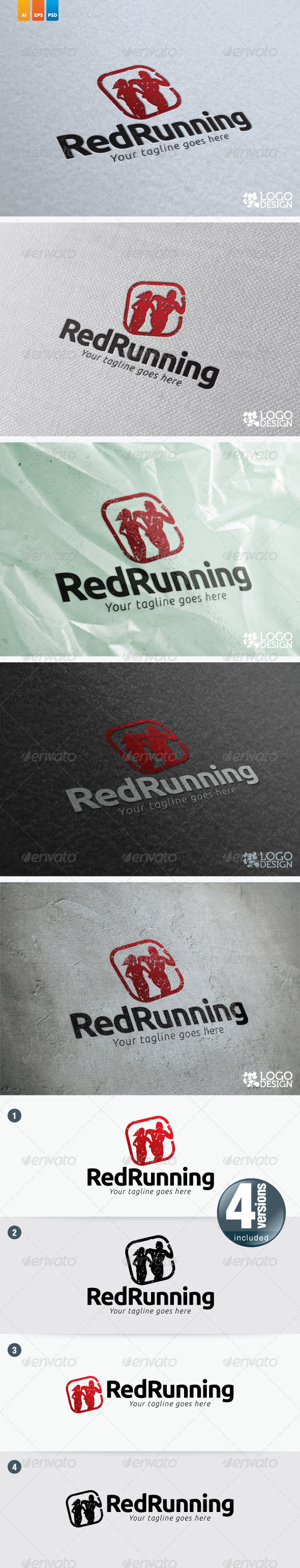 Red Running - Humans Logo Templates