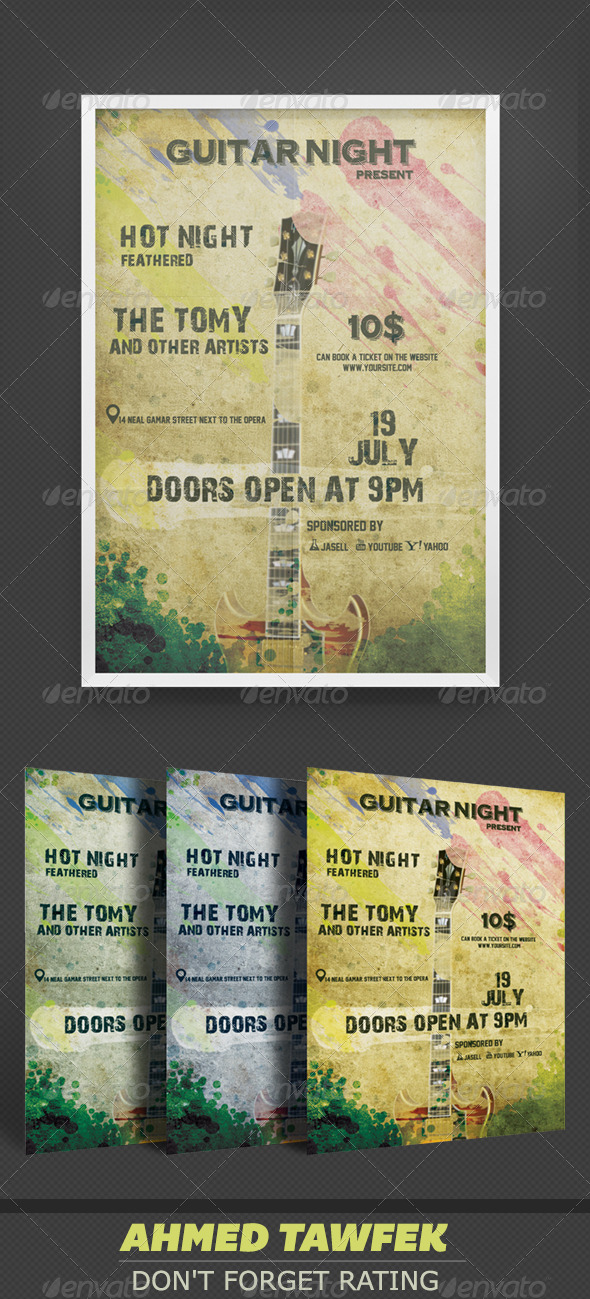 GraphicRiver Night Guitar Flyers 4112153