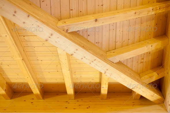 Architectural detail of an indoor wooden ceiling