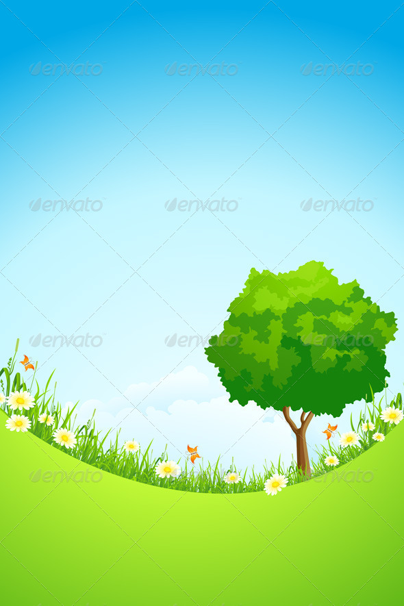 GraphicRiver Green Landscape with Tree 4286818