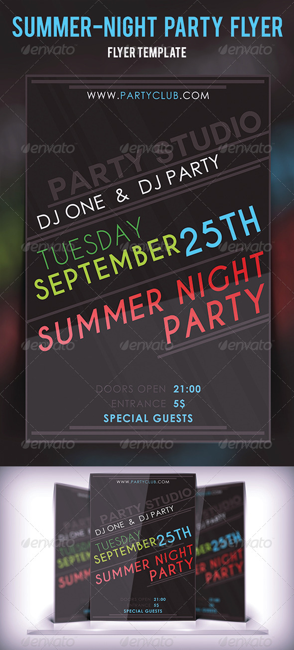 GraphicRiver Summer Night Party Flyer 4106410