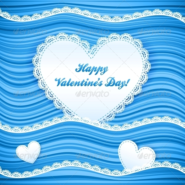 GraphicRiver Vector Blue Wavy Valentine s Day Background 4288175