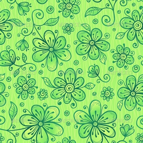 GraphicRiver Green Doodle Flowers Vector Seamless Pattern 4288374