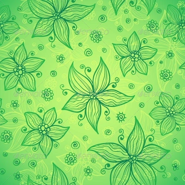 Green Doodle Flowers Vector Seamless Pattern